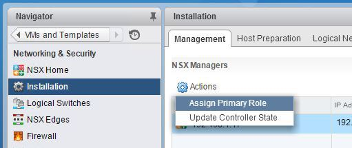 NSX Manager Assign Primary Role