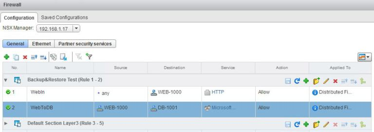 NSX Firewall New Rules